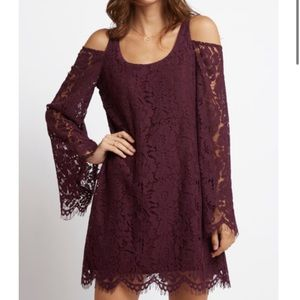 Chaser Cold Shoulder Lace Dress in Berry/Plum